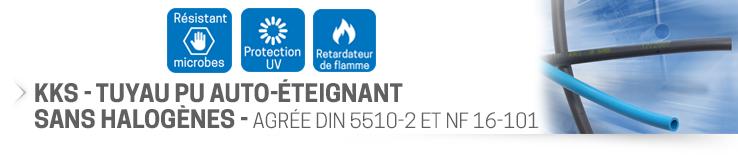 KKS - Tuyau PU auto-éteignant sans halogènes - DIN 5510-2 - NF 16-101